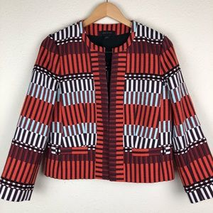 Ann Taylor Knit Color Block Geometric Blazer